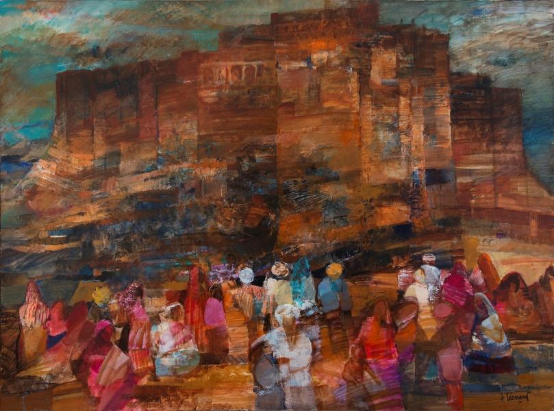 Foule En Bas De La Citadelle De Jodhpur, Huile Sur Toile, 150 X 200 Cm (59 X 79 In)