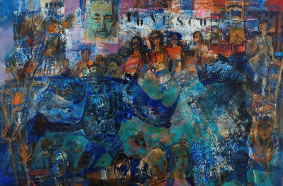 Hommage à Ionesco, Huile Sur Toile, 130 X 195 Cm (51 X 77 In)