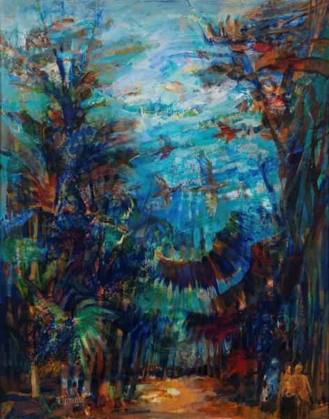 L'écrin Des Palmes, Huile Sur Toile, 146 X 114 Cm (57 X 45 In)