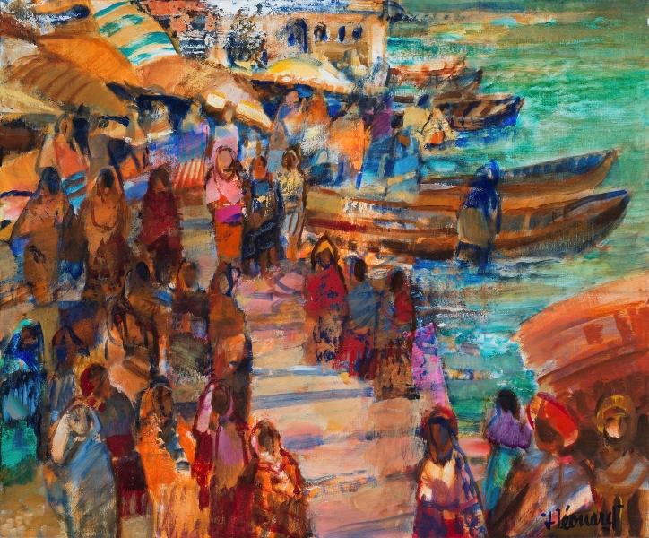 Le Long Du Gange, Huile Sur Toile, 54 X 65 Cm (21 X 26 In)
