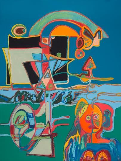 Abstraction Et Enfant, 2015, Huile Et Acrylique Sur Toile, 160 X 120 Cm (63 X 47 In)