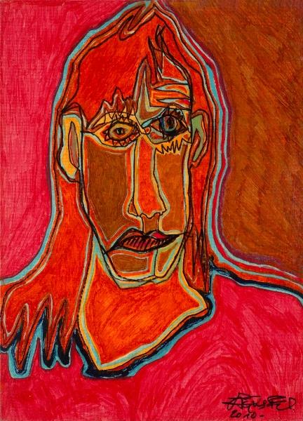 Adèle, 2010, Huile Et Acrylique Sur Toile, 41 X 33 Cm (16 X 13 In)