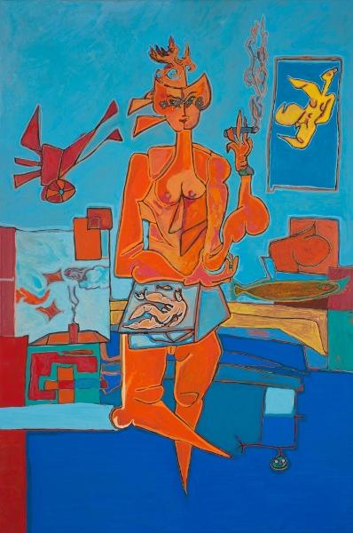 Atelier 3, 2015, Huile Et Acrylique Sur Toile, 120 X 80 Cm (47 X 31 In)