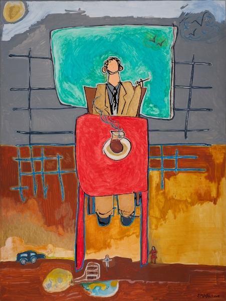 Café, 2014, Huile Et Acrylique Sur Toile, 100 X 75 Cm (39 X 30 In)