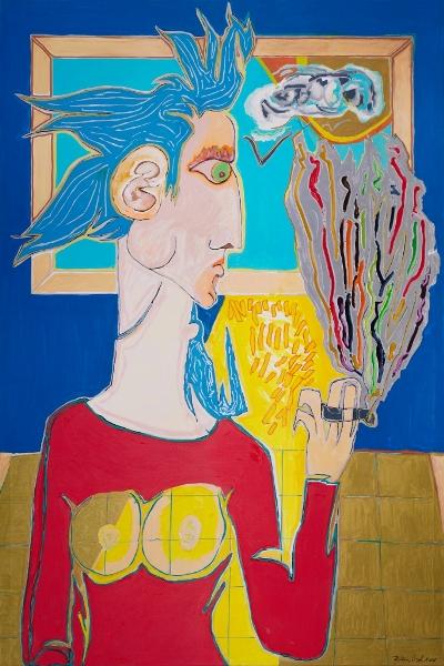 Femme à La Cigarette, 2014, Acrylique Sur Toile, 150 X 100 Cm (59 X 39 In)