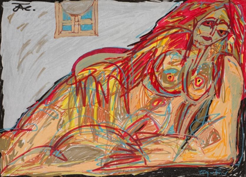 Femme Allongée, 2000, Acrylique Sur Toile, 33 X 41 Cm (13 X 16 In)