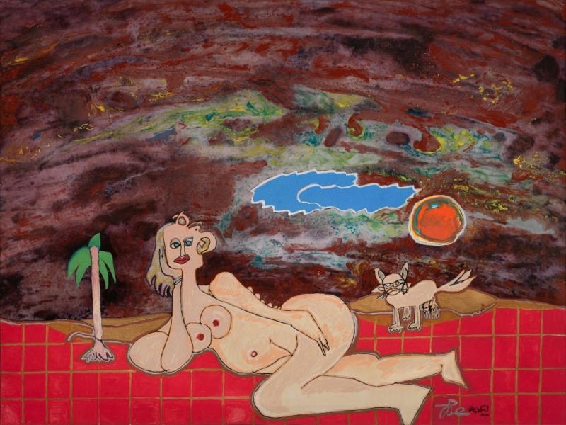 Femme Au Carrelage, 2014, Huile Et Acrylique Sur Toile, 60 X 80 Cm (24 X 31 In)