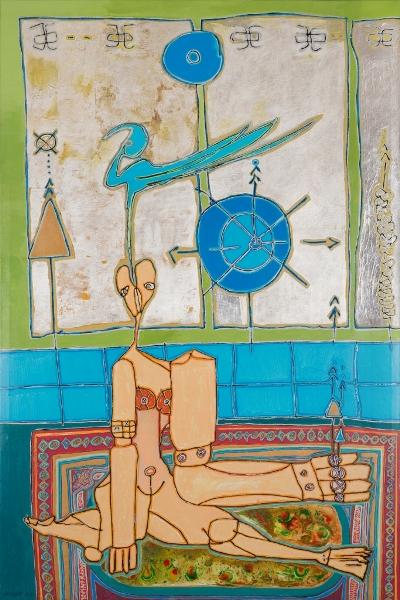 Femme Et Oiseau, 2014, Huile Et Acrylique Sur Toile, 150 X 100 Cm (59 X 39 In)