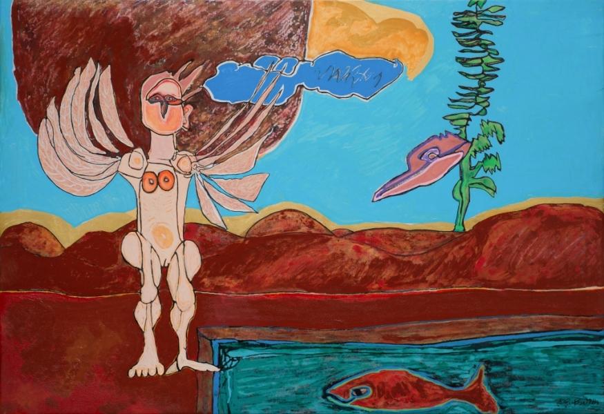 Femme Oiseau, 2014, Huile Et Acrylique Sur Toile, 67 X 97 Cm  (26 X 38 In)