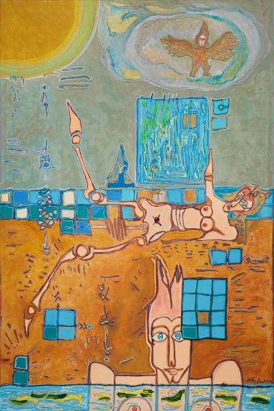 Femme Renversée, 2014, Huile Et Acrylique Sur Toile, 150 X 100 Cm (59 X 39 In)