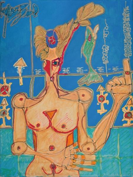 Femme Sur Fond Bleu, 2014, Acrylique Sur Toile, 40 X 30 Cm (16 X 12 In)