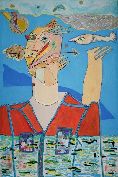 Homme Et Poisson, 2014, Huile Et Acrylique Sur Toile, 150 X 100 Cm (59 X 39 In)