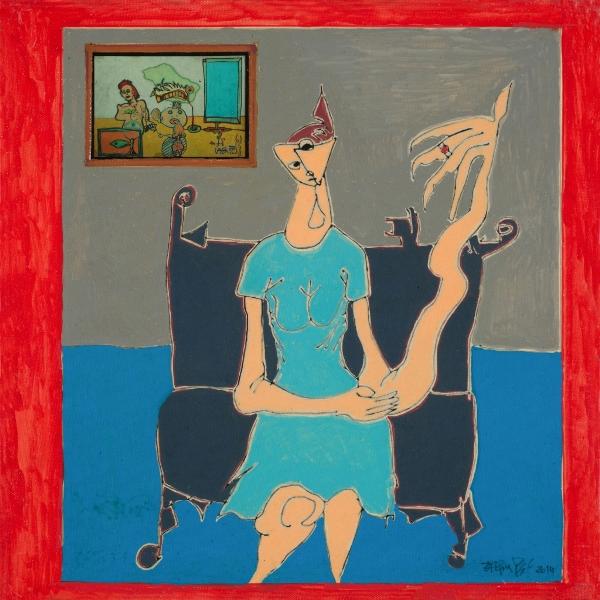 La Femme à La Galerie, 2014, Acrylique Et Collage Sur Toile, 40 X 40 Cm (16 X 16 In)