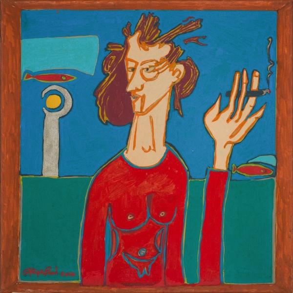 La Femme Qui Fume, 2014, Acrylique Sur Toile, 40 X 40 Cm (16 X 16 In)
