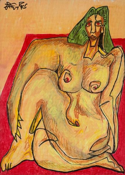Nu Assis, 2000, Acrylique Sur Toile, 41 X 33 Cm (16 X 13 In)