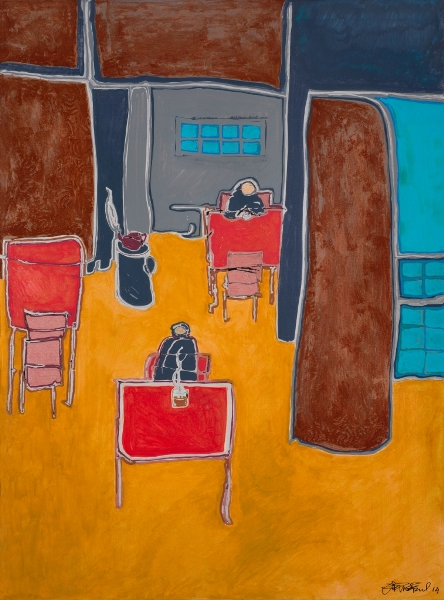 Solitude, 2014, Huile Et Acrylique Sur Toile, 88 X 66 Cm (35 X 26 In)