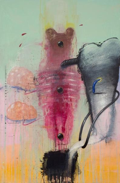 MARC GIAI MINIET L'invention Des Yeux N°1, 2005, Acrylique Sur Panneau De Bois, 120 X 80 Cm (47 X 31 In)