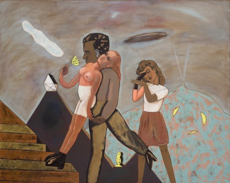 PIERRE DESSONS Au Delà Du Phare, 1993, Huile Et Acrylique Sur Toile, 130 X 162 Cm (51 X 64 In)