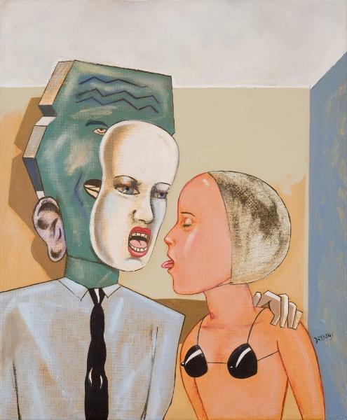 PIERRE DESSONS Langues 2, 2011, Huile Et Acrylique Sur Toile, 46 X 38 Cm (18 X 15 In)