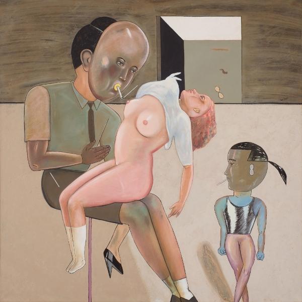 PIERRE DESSONS Le Goût De La Cigarette, 1985, Huile Et Acrylique Sur Toile, 100 X 100 Cm (39 X 39 In)
