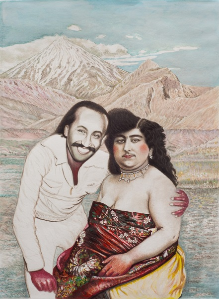 Moi Et Princesse Taj Al Saltana 2000 Gouache Sur Papier 55 X 40 Cm 22 X 16 In