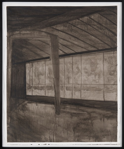 Image Inquiète (Hangar), 2012, Acrylique Sur Papier Encadrée Sous Verre, 159 X 135 Cm ( 63 X 53 In)
