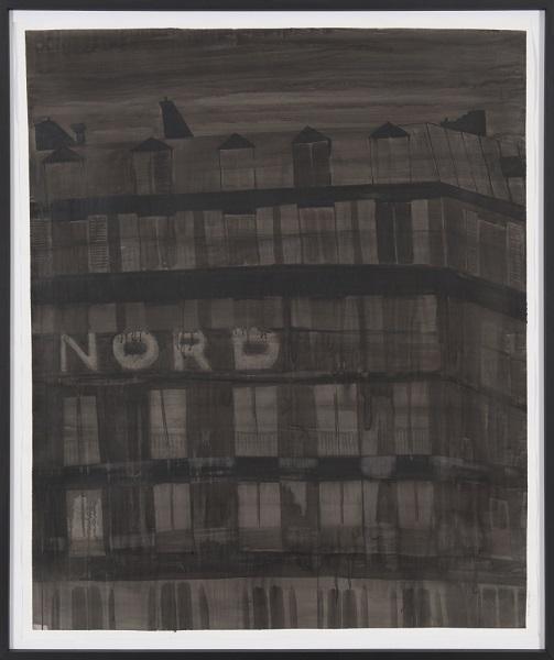 Image Inquiète (Nord), 2013, Acrylique Sur Papier Encadrée Sous Verre, 160 X 143 Cm (63 X 56 In)