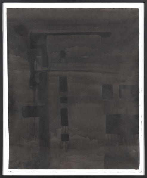 Image Inquiète (Zone Portuaire), 2013, Acrylique Sur Papier Encadrée Sous Verre, 160 X 132 Cm (63 X 52 In)