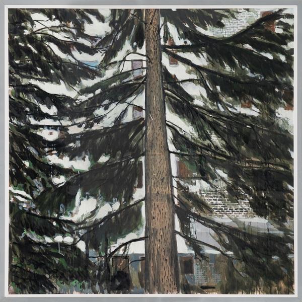 Paysage 104, 2011, Huile Sur Toile Encadrée Sous Plexiglas, 123 X 123 Cm (48 X 48 In)
