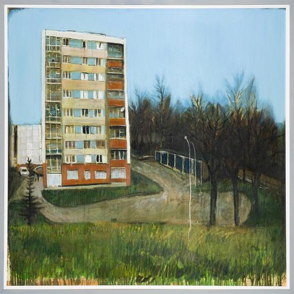Paysage 14, 2005, Huile Sur Toile Encadréee Sous Plexiglas, 123 X 123 Cm