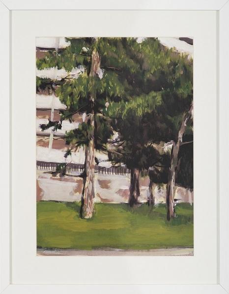 Sans Titre, 2011, Huile Sur Papier Encadrée Sous Verre, 52 X 42 Cm (20 X 17 In)