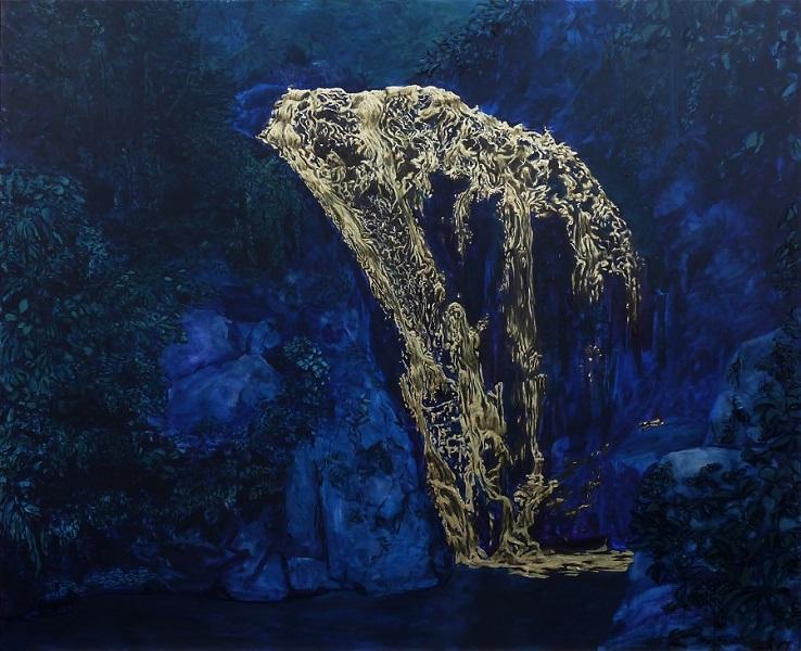 Air Terjun Emas (La Cascade D'or), 2015, Huile Et Poudre De Bronze Sur Toile, 130 X 160 Cm (51 X 63 In)