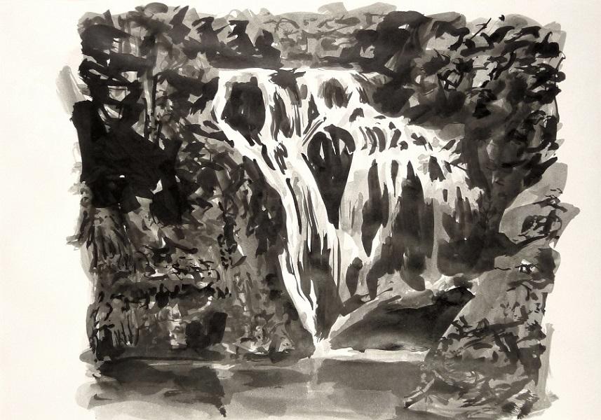 La Cascade, 2017, Encre De Chine Sur Papier, 21 X 30 Cm (8 X 12 In)