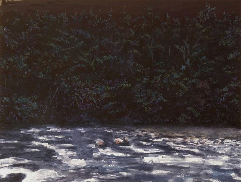 Les Rapides, 2017, Aquarelle Sur Papier, 29 X 39 Cm (11 X 15 In)